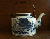Vintage Asian Blue Fish Tea Pot with Brass Handle Teapot circa 1950-60 39 s English Shop