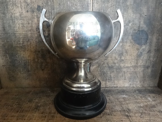 Vintage English large silver plated trophy cup award Presented By Great Casterton Womens Institute 1946  English Shop