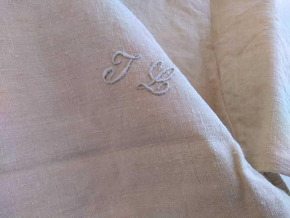 Antique French Linen Hemp Night Shirt Smock Biaud… - image 5
