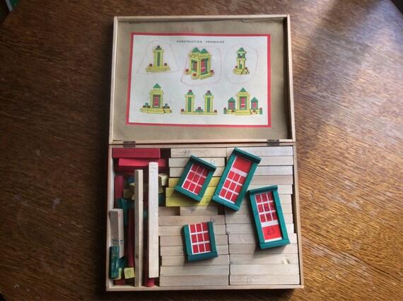 Français vintage jeux construction en bois