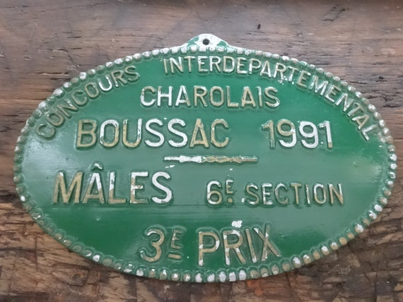 Vintage French agricultural farming beef cattle cow livestock metal prize trophy plaque agriculture prize males circa 1995  English Shop