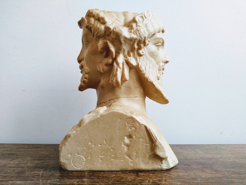 Vintage French Roman Double head of Herm\u00e8s Musee Du Louvre Bust Statue Figurine Resin Decorative Ornament circa 1980-90/'s  English Shop