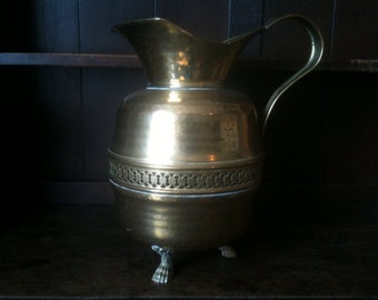 Vintage French Brass Openwork Large Tall Jug Pitcher with Animal Claws Feet circa 1920's / EVE of Europe