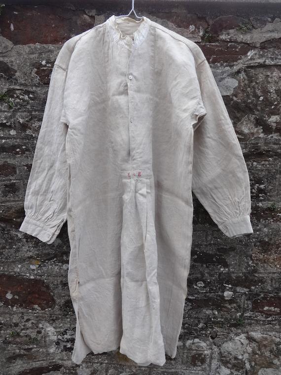 Antique French Farmer Linen Night Shirt Smock Biau