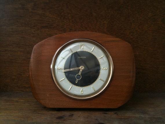 vintages anglais mid century bois horloge de chemin e ne. Black Bedroom Furniture Sets. Home Design Ideas