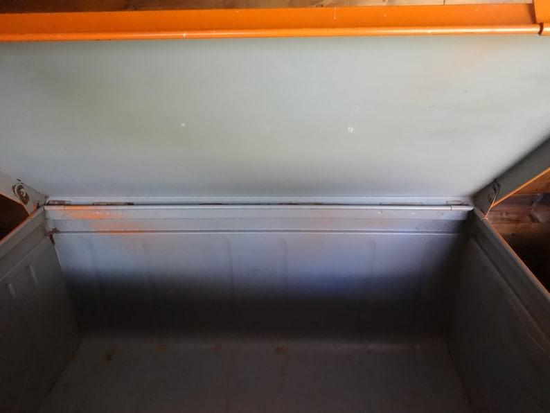 Vintage French large metal orange lockable cabinet box storage chest tools luggage circa 1970/'s  English Shop