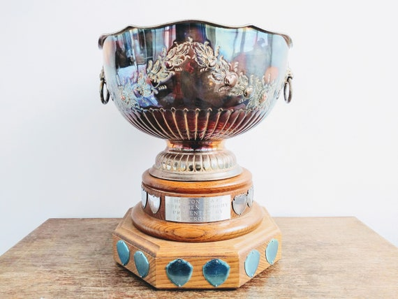 Vintage English large silver plated trophy cup award The Jill Hart Cup Darts Holder circa 1970/'s  English Shop