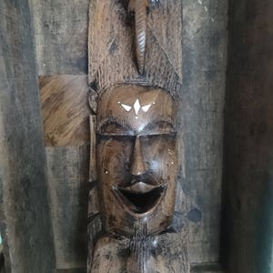 Vintage African Face Man Woman Mask Idol Statue Primitive Art Carving Sculpture Wooden Wood Wall circa 1950/'s  English Shop
