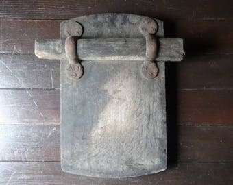 Antique French Large Worn Thick Wood Barn Barrel Door Lock Panel Board Securing Wooden Block circa 1900-20's / EVE of Europe