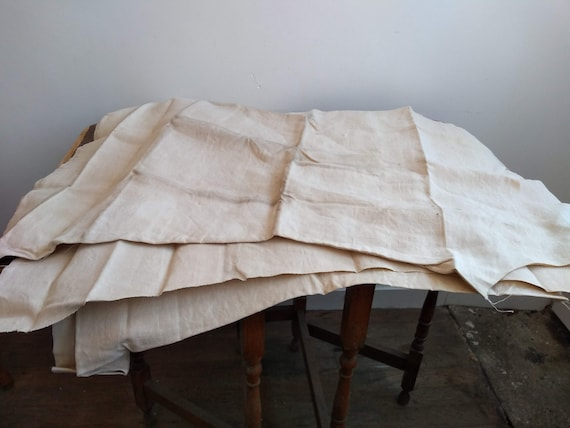Antique French Partially Finished Linen Hemp Nigh… - image 9