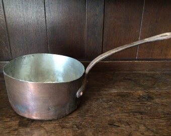 Vintage French medium copper pan saucepan cooking pot casserole stew circa 1950's / English Shop