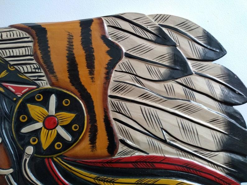 Vintage Native American Indian Chief Head Art Carving Wooden Wood Ornament Decorative Display circa 1990/'s  English Shopop