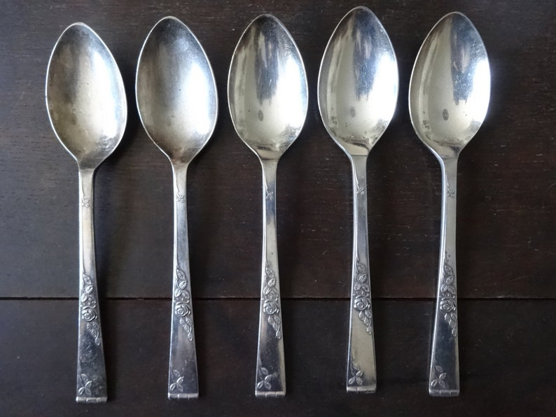 Vintage English Sheffield EPNS silver plate large soup sweet pudding spoons set cutlery flatware silverware circa 1930/'s  English Shop