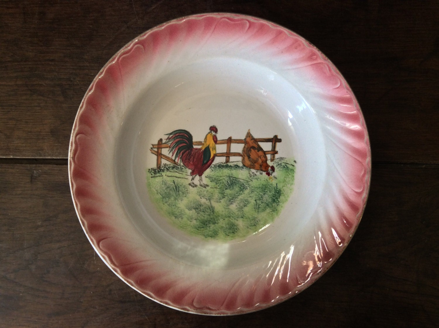 Vintage French Chicken Soup Large Bowl Dish Plate Circa Etsy