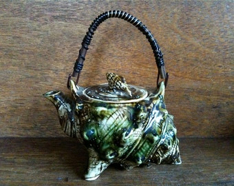 Vintage English Sea Shell Teapot Tea Pot Ornament circa 1960-70's / English Shop