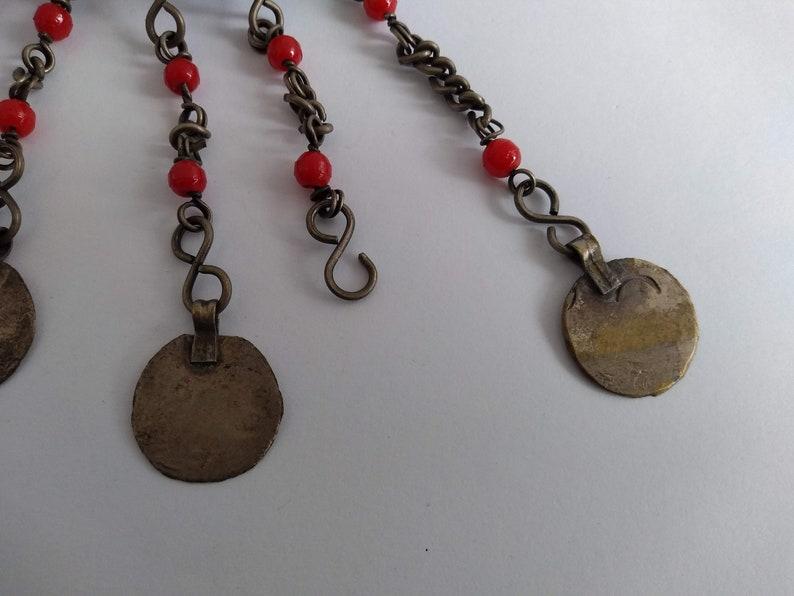 Vintage Moroccan Fibula Brooch Garment Closure Silver Metal Red Glass Details Tribal Berber Ethnic circa 1960-70/'s  English Shop