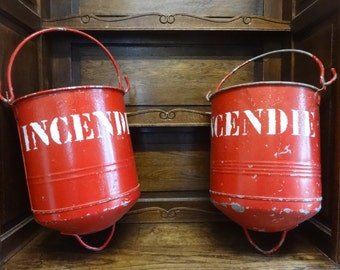 Vintage French Hanging Hung Fire Bucket Sand Hand Tool SOLD INDIVIDUALY circa 1950-60's / English Shop
