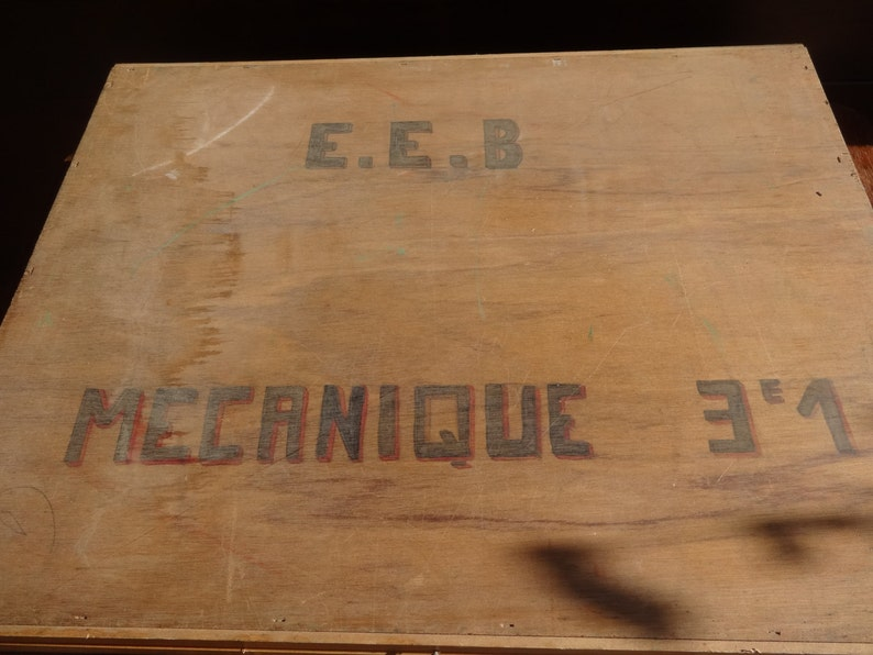Vintage French large wooden wood flat craft tool tackle instrument storage box hand made painting paints artist circa 1960/'s  English Shop
