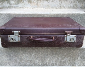 Vintage French mahogany brown travel hard case suitcase bag circa 1960's / EVE of Europe