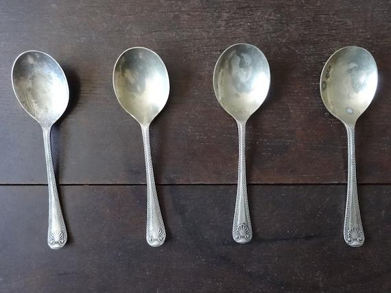Vintage English dinner knifes collection set cutlery flatware silverware tarnish patina plate loss circa 1920-1930/'s  English Shop