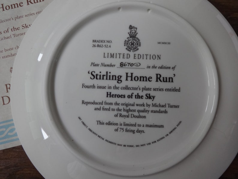 Vintage English Royal Doulton Heroes Of The Sky Stirling Home Run Fourth Issue Lunch Dinner Plate circa 1990/'s  English Shop