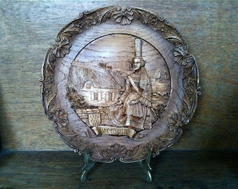 Vintage Bretagne French Plate Retro France Wall Hanging Display Rustic Rural Cottage circa 1960-70's / EVE of Europe