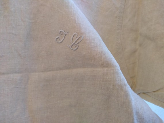 Antique French Linen Hemp Night Shirt Smock Biaud… - image 4