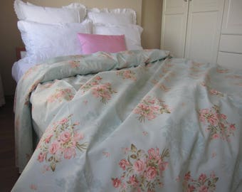 Vintage Floral Duvet Cover Mint Green Pale Blue Pink Posy Roses Pastel  Queen King Duvet Cover Shabby Chic Bedding Turkish Cotton Nurdanceyiz