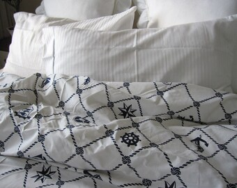 rope navy white plaid nautical duvet cover twinfulldoublequeen 120x120 super king doona cover anchor bedding sailor marine bedding - Nautical Bedding
