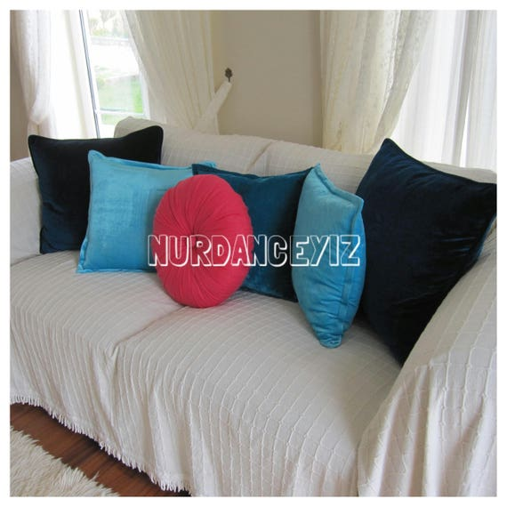 Linen Round pillow circle handmade filled couch sofa