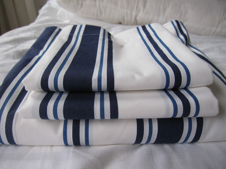 e13c3f73ada7 Nautical bedding Coastal cottage White navy stripe Queen