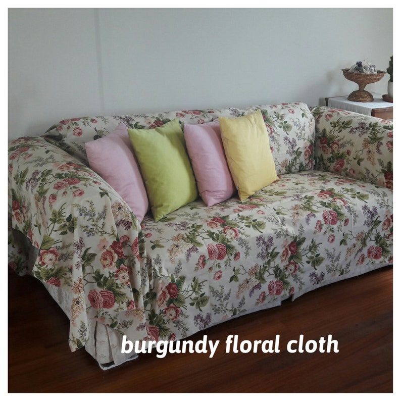 Shabby chic floral sofa cover Large Mint blue pink floral - Sofa throw  covers -couch coverlet-sofa furniture protectors linen Nurdanceyiz