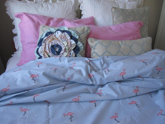Couette Imprime Flamant Rose Housse 120 X 98 Shabby Chic Literie