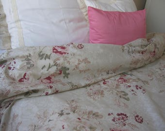 Floral Duvet Cover Sage Green Cream Wine Red Roses Print Full Queen Oversized King