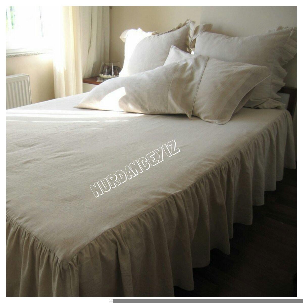 Oatmeal linen drop ruffle skirted Bedspread Bed skirt  cbbc4c7dc