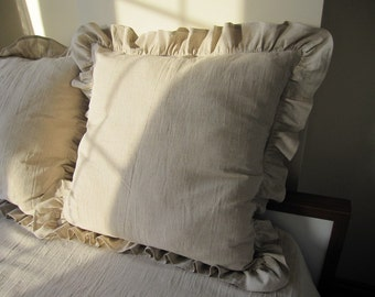 26 inch Ivory / Oatmeal beige ruffle euro sham pillow -shabby chic beach cottage country style pillow sham - Odemis linen queen king bedding