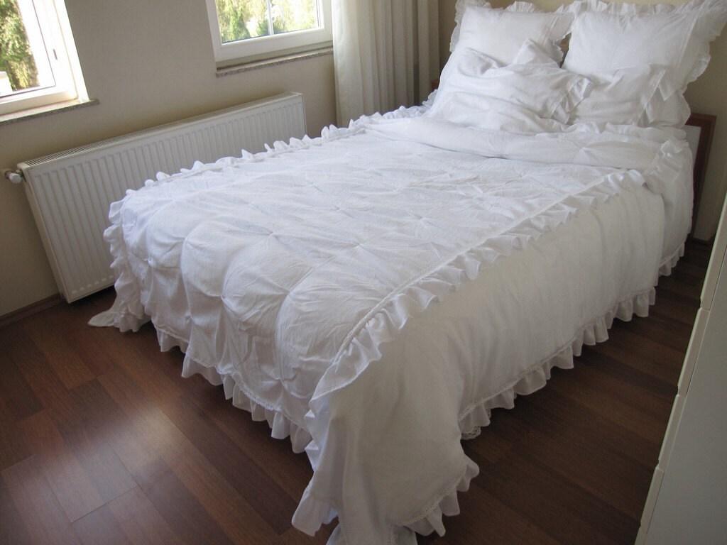 pintuck bedding queen oversized super king duvet cover white etsy. Black Bedroom Furniture Sets. Home Design Ideas