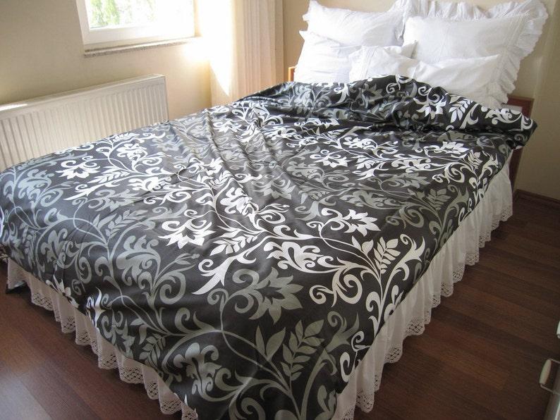 White Gray Black Khaki Taupe Modern Floral Duvet Cover Cal Etsy