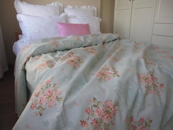 Vintage Fl Duvet Cover Mint Green, Mint Green And Pink Bedding