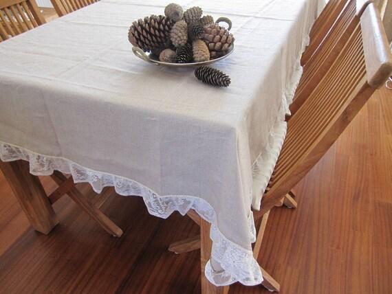 Casa Di Campagna Traduzione Francese : Shabby chic ruffle rettangolo di tovaglia in lino 84 120 lace etsy