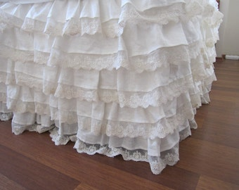 linen bed skirt Ivory lace waterfall ruffled bedding-bedskirt drop 22 32 dust ruffle-shabby cottage chic bedding-Queen king/CRIB bedding