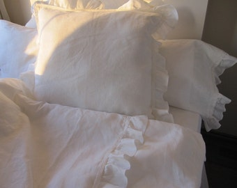 Ivory or White linen ruffle EURO SHAM -26x26 20x36 French Country home - shabby cottage chic- Turkish romantic home and living bed pillows