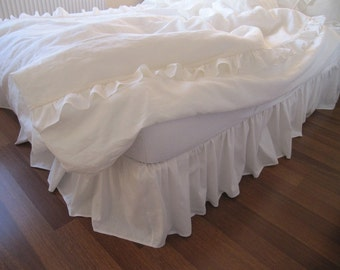 Linen Bed Skirt Ivory Lace Waterfall Ruffled Bedding Bedskirt