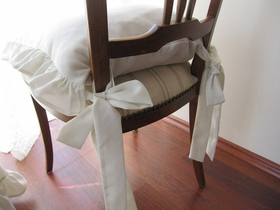 Chair Cushions With Ties Ruffle Linen Chair Cushion Covers 3 Etsy