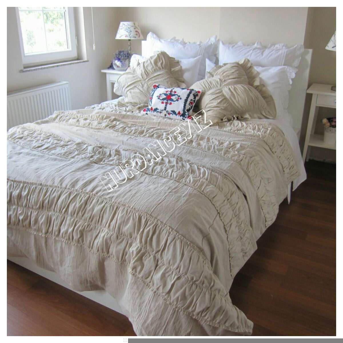 Shabby Chic Bedding: Ruched Bedding-Shabby Cottage Chic Duvet Cover Full Queen