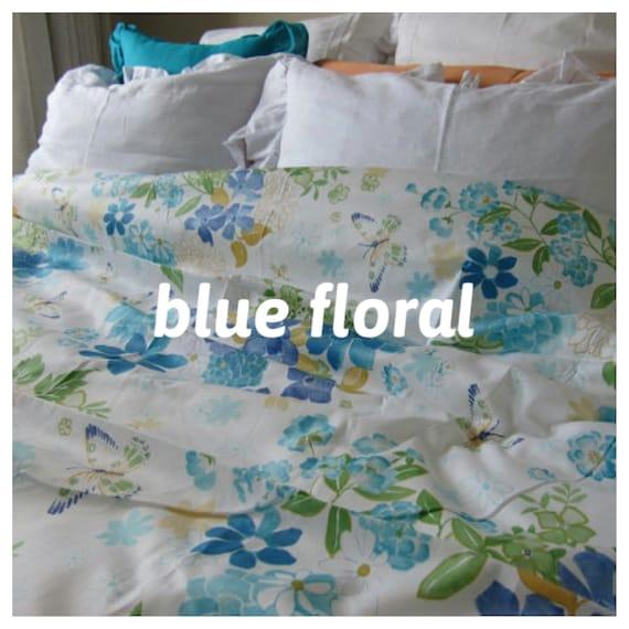 Bleu Marron Fleuri Couette Couverture Roses Reine Imprime Floral
