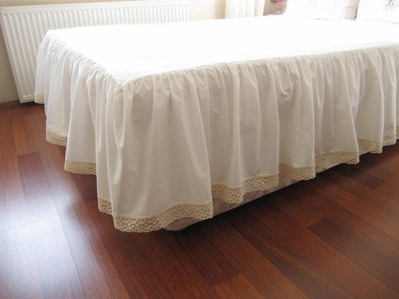 Ivory cotton bedskirt Custom drop 14 18 20 22 inch Queen King   Etsy