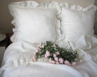 Shabby chic bedding Twin XL duvet cover with standard pillow sham  white or Ivory linen- Romantic ruffle bedding