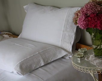 White standard queen Pillowcase with handmade crochet lace. French Country home -shabby chic bedding bed pillow cases cotton Turkish Turkey