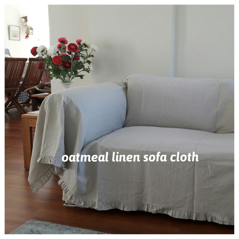 Ruffled Sofa throw couch covers rectangle linen coverlet - pet lover home  decor custom sofa furniture protectors Nurdanceyiz couch covers